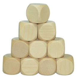 10 x Blankowürfel, Holzwürfel blanko 30mm Ahorn natur - Gebetswürfel unbedruckt mit 3cm Kantenlänge -