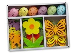 16-teiliges Osterdekorations-Set: 6 Ostereier zum Hängen, 2 Dekoblumen, 4 Schmetterlinge, 4 Vögel, aus Holz, Filz und Kunststoff, Ostern Blumen Eier Flühling -