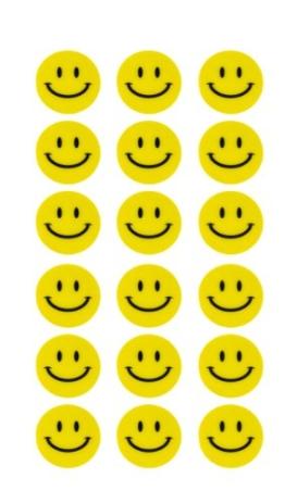 180 Gelbe Smiley Face Stickers ø 2cm - Lächlen - Freude - Belohnung -