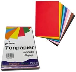 200 Blatt Tonpapier Bastelpapier A4 Farbig Sortiert 130 g / qm -