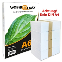 2000 Blatt DIN A6 (105x148mm) hochweißes ökologisches Druck- und Kopierpapier MARKE versando® 80 Umweltzertifikat Druckerpapier, Universalpapier, Papier, Notizpapier, Fax und Tintenstrahldrucker und Schreibpapier Notizzettel, (auch als Notiz- und Rezeptpapier) 80g/qm -