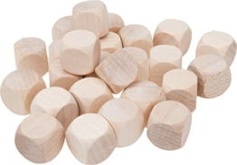 25 Stück - Gico Blankowürfel Holzwürfel blanko 16 mm natur -