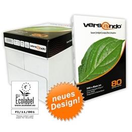 2500 Blatt Marken Kopierpapier Versando high white 80 DIN A4 80g/qm weiss Druckerpapier Papier Fax Laserpapier Universalpapier, Fotokopierpapier Seiten -