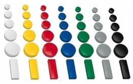 30x Magnete, farbig sortiert, 3 verschieden Größen Ø 24 u. 32 u. 54x19 mm, Haftmagnete für Whiteboard, Kühlschrank, Magnettafel, Magnetset, M - 30 Stück -