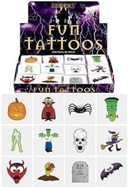 48 x Kindertattoos - Gespenstisches Halloween Kürbis Vampire Fledermäuse -