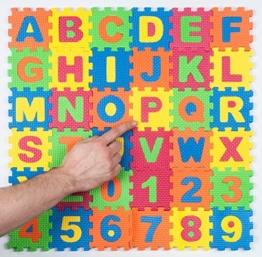 Abc Puzzle von Markrons aus EVA Schaumstoff 36 Teile Buchstaben A-Z Zahlen 0-9 Spielmatte Puzzlematte Spielzeug Kinderteppich Spielteppich Bodenpuzzle Schaumstoffmatte Kind Lernspielzeug je 9x9 cm pro Puzzlestück ca. 100 g Gesamtgewicht fördert Feinmotorik für Kindergarten und Vorschule Spiel Spaß und Lernen für Kinder EN71 geprüft -