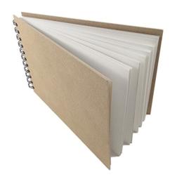 Artway ENVIRO A4 Skizzenbuch, spiral-gebundenes Skizzenbuch in Querformat, 70 Seiten, 100% recycletes Umwelt-Zeichenpapier, 170g/m2, mit schwarzer Doppelspirale und natürlichen Hartfaser-Deckeln -