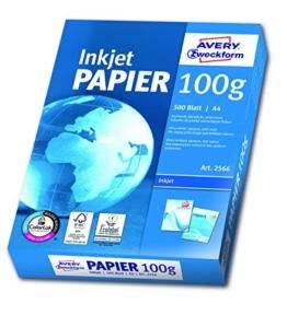 Avery Zweckform 2566A Inkjet Druckerpapier A4, 100 g/m², 500 Blatt, satiniert, hochweiß (Optimierte Schutzverpackung) -