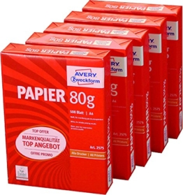 Avery Zweckform 2575 Drucker- und Kopierpapier A4, 80 g/m², 5 x 500 Blatt, alle Drucker, weiß (Frustfreie Verpackung) -