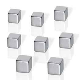 Be!Board B3101 Neodym-Magnete für Glas-Magnetboards / Glas-Magnettafeln, 8er-Set, Würfelform, 1x1x1 cm, silber - 2 Formen möglich -