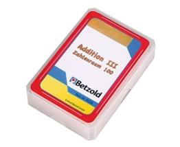 Betzold 48 Karten Addition III Zahlenraum 100, im praktischen und stabilen Kunststoffetui - Mathematik Kartenspiel Rechenspiel Grundschule addieren Lernspiel -