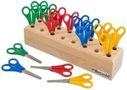 Betzold Scheren, 16 Stück im Holzständer - Scherenblock Scheren-Köcher Kindergarten Schule Holz-Block Basteln Klassenset Bastel-Scheren Gruppen-Set Kinder -