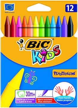 BIC Kids Wachsmalkreide Plast Decor, rund, Etui 12 Stück, 12-farbig sortiert -