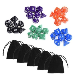 Blulu 35 Stück Polyhedral Dice Würfel Farbige Würfel in 5 Komplett Sets mit Packung mit 5 Stück Schwarz Pouches für Dungeons und Dragons -