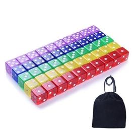 Blulu 6 Seitige Würfel für Mathematiklernen, Kasino, Spiel, Fest und Geschenk mit einem Beutel, 50 Stück, 5 Farben -
