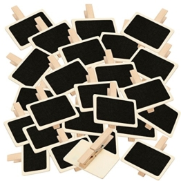 BODA Holztafel mit Klammer 25 Stück groß Deko-Klammern Wäscheklammer 6,5 x 4,5cm -