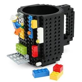 build-on Brick Becher Kaffee Tasse DIY Typ Kunststoff Creative Bausteine Kaffee Tee Getränk trinken Funny Geschenk, schwarz -