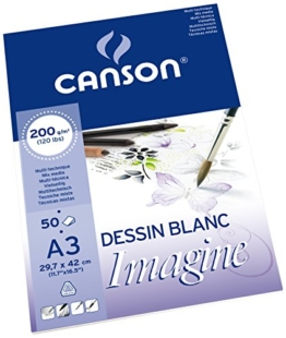 Canson 200006007 Imagine Mix-Media Papier, A3, rein weiß -