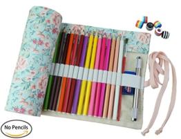 Cre-go Federmappe Schlamperrolle Mäppchen Bleistiftkasten für 72 farbige stifte (anmerkung:keine Farbstifte)-Countryside,72 Holes -