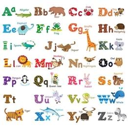 Decowall DW-1308 Alphabet & Tiere Wandsticker Wandaufkleber Wandtattoo Kinderzimmer (Mittlere) -