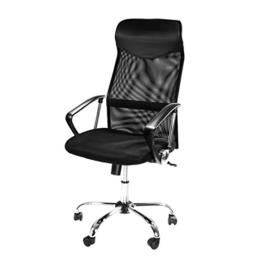 Design Bürostuhl mit Kopfstütze, Netzrücken, Wippfunktion & Armlehne - ergonomisch, höhenverstellbar - schwarz -