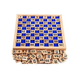 Dewel Montessori Educational Holzspielzeug 1-100, Hunderterbrett mit Arbeitskartei, 100 Karten -