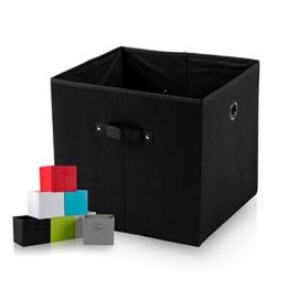 diMio SB1 Faltbox in schwarz (4er Pack) - Regalfach Aufbewahrungsbox mit Trageschlaufen und Fingerloch, extra tief für noch mehr Stauraum -
