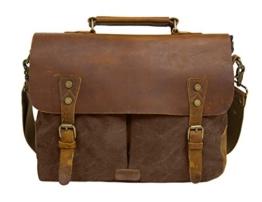 Ecosusi Aktentasche Messenger Bag Damen Umhängetasche Herren Schultertasche Leder Tasche -