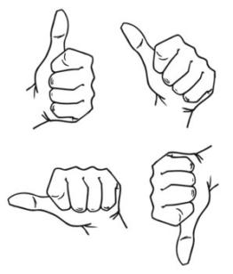 Elbi Lehrerstempel: Daumen Universalstempel, durch Drehung veränderbar aus Holz - K62/1 -