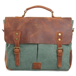 Estarer Unisex Vintage Umhängetasche Leder Canvas Laptop Schultertasche Grün -