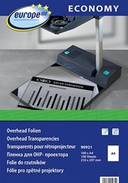 europe100 90921 Overheadfolie für Laserdrucker und Kopierer, DIN A4, 100 Blatt, transparent -