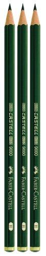 Faber-Castell 111198 - 3 Bleistifte CASTELL 9000, Härtegrad: H, Schaftfarbe: grün -