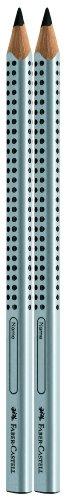Faber-Castell 111997 -  2 Jumbo GRIP Bleistifte, Härtegrad: B, Schaftfarbe: silber -