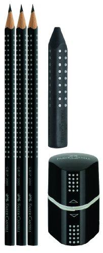 Faber-Castell 217093 - Bleistiftset GRIP 2001, mit 3 Bleistiften, 1 Radierer + 1 Spitzdose, schwarz -