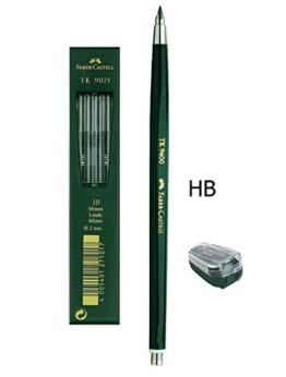Faber-Castell - Fallminenstift TK 9400, Minenstärke: 2 mm, Härtegrad: HB + Ersatzminen und Minenspitzer -