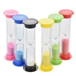 Farbenfrohe Sanduhren [6 Stück], 30sec / 1min / 2min / 3min / 5min / 10min - eLander Kleine bunte Sanduhren, Sanduhr Timer, Zähneputzen, Sanduhr für Kinder -