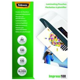Fellowes 53511 Laminierfolien (Impress 100 Mikron, DIN A4) 100er Pack -
