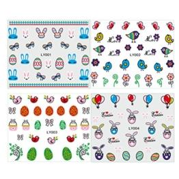 FENICAL Nail Art Sticker 3D Sticker Aufkleber bunte Nagel Aufkleber für Frauen Kinder Ostereier Bunny Party 5 Blätter -