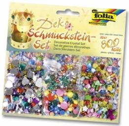 Folia 12419 - Schmucksteine-Set, über 800 Teile, Formen, Größen und Farben sortiert -