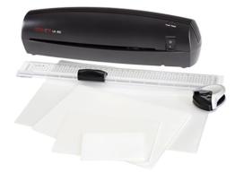 Genie 12326 4-in-1 Starter-Set (LA 402 DIN A4 Laminiergerät inkl. 50 Laminierfolien, Eckenrunder-, Papier Schneidelineal) schwarz -