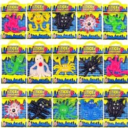 German Trendseller® - 12 x Schleimige Glibber Monster ┃ Halloween ┃ Viele Farben ┃ Sticky ┃ Mitgebsel ┃ Partygag ┃ Diese Schleimfiguren bleiben überall Kleben -