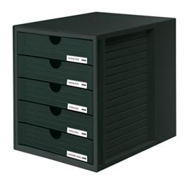 HAN 1450-13, Schubladenbox Systembox, Innovatives, attraktives Design mit 5 geschlossenen Schubladen, schwarz -