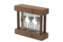 heller Bambus-Teatimer 3in1 farbige Sanduhr 2, 3 & 5 min. -