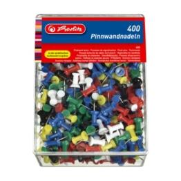 Herlitz 8859142 Pinnwandnadel bzw. Organisationsnadel, 23mm, farbig sortiert, in der 400er Transparentbox -