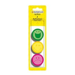 Herlitz Haftnotizblock Smiley World, rund, 3-er Pack, 40 Blatt, neon grün/-gelb/-pink -