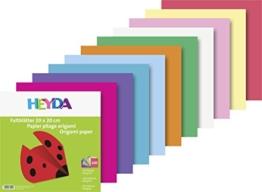 Heyda 204875520 Faltblatt (Papier, 20 x 20 cm, 10 Farben sortiert, 100 Blätter) -