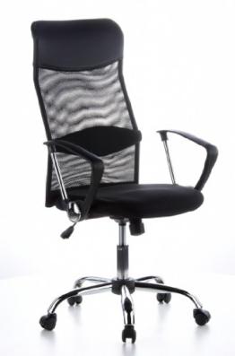 hjh OFFICE 621100 Bürostuhl Chefsessel ARIA HIGH Netzstoff schwarz, verstellbares Lordosenkissen für den Rücken, robuster Netzstoff, Drehstuhl ergonomisch, verstellbare Armlehnen, Schreibtischstuhl -