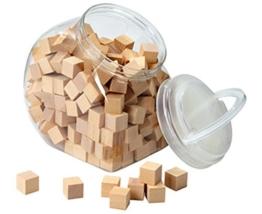 Holzwürfel in Aufbewahrungsbehälter, Würfel aus Holz zum Bauen und Legen, 2 cm x 2 cm groß, Kinder Schule Lehrmittel passend zu Cubo Karten, Cubowürfel -