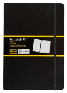 Idena 209281 - Notizbuch DIN A5, 192 Seiten, 80 g/m², kariert, schwarz -