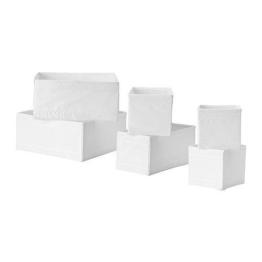 "IKEA 6-er Set Aufbewahrungsboxen ""Skubb"" sechs Kisten Regaleinsätze je 2 Stück in 3 versch. Größen - WEISS -"